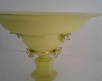 Lime Green Painted Multipurpose Stand; Decorated Pedestal Dessert Plate; Repurposed Elevated Candle Holder; Party Accessory