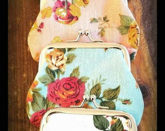 Colorful vintage style rose coin purses