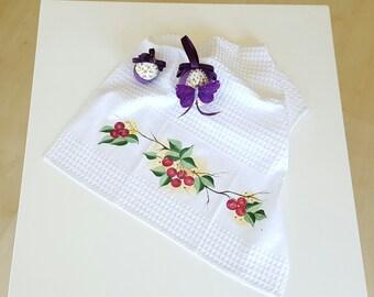 Cherries Kitchen Towel / Dish Towel (Hand-painted)