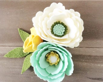 Yellow and Mint Felt Flower Wrist Corsage, Bridal Flower Wrist Corsage, Wedding Felt Flower Wrist Corsage, Prom Flowers