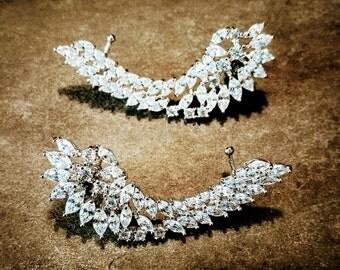 Large silver ear climber, ear crawler, cz ear climber, cubic zirconia, wedding earrings, bridal jewellery, bridesmaid gift, earrings,