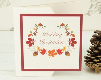 Autumn Pocketfold Wedding Invitation