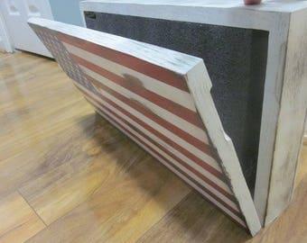 Oak Wooden American Flag Concealment Cabinet