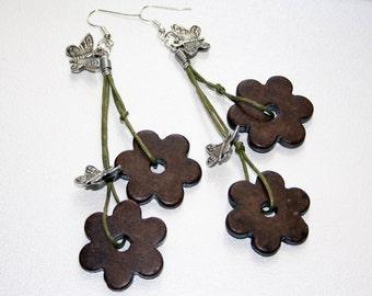 Long boho earrings Ethnic earrings Hippie earrings Gypsy earrings Ceramic Earrings Flower beads Earrings Art beads earrings Leather earrings