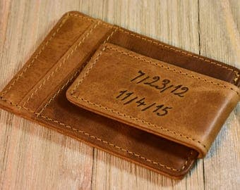 Fathers Day Gift Boyfriend Gift Personalized Clip Wallet Leather Money Clip Wallet Magnetic Money Clip Credit Card Handmade Mens Wallet