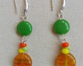 Czech glass and small Japanese colored beads earrings