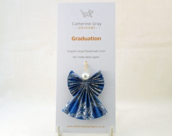 Graduation origami angel, congratulations gift, well done, exams, university, paper fairy ornament, hanging decoration