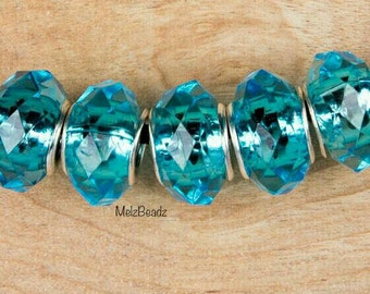 Large hole turquoise acrylic faceted bead,large acrylic beads,turquois large hole acrylic bead,large turquoise faceted bead,acrylic bead