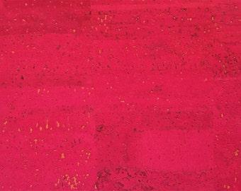 Cork Fabric (US Supplier) - Fuchsia - Vegan - EcoFriendly - Leather Alternative - Made in Portugal