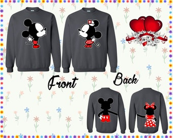 Mickey Minnie Kissing Crewneck Front Back Sweatshirt Mickey Minnie Sweater Couple Crewneck Couple Sweater Couple Sweatshirt Gift For Couple
