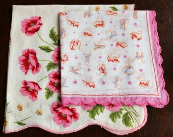 Vintage Handkerchiefs - Pink Pair of Lovely Linens