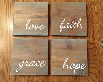 Love faith grace hope sign, Set of 4, Rustic sign,