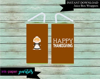 Printable Thanksgiving Pilgrim Girl Juice Box Wrappers Party Favors Favor Labels Digital File Instant Download