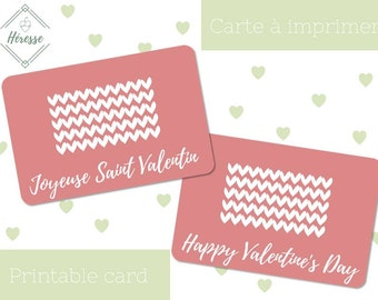 Valentine's day card, 10x15cm (4x6 in.) - Hearts pattern - English & French