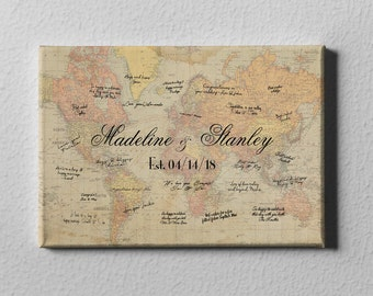 SALE 60% Off Canvas Guest Book, Vintage World Map GuestBook, Destination Wedding Guest Book, Travel Theme Wedding Gift, FREE SHIPPING! - C36