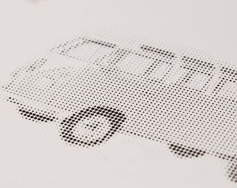 Black white image: VW bus - MILLED super high-quality halftone style