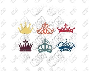 Crown Silhouette svg dxf eps jpeg format layered cutting files download clipart screen print die cut decal vinyl cutter cricut silhouette