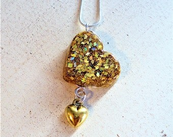 Heart Necklace, Gold Heart Pendant, Gold Heart Necklace, Heart Pendant, Pendant Necklace, Gold Heart Charm, Gift for Her, Inspirational Gift