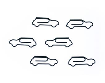 100 Count Bag Cute Car Paper Clips - Available in WHITE or BLACK