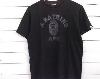Rare !! A Bathing Ape by Bape Tee Shirt Big Logo Print Crewneck Black Colour Size M