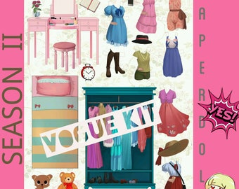 Digital Printable Arts & Craft Paper Doll DRESS ME UP - Season 2 Bedroom collection