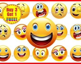 Emoticons - Bottle Cap Images - Emoji Faces - Instant Download - High Resolution Images - Buy 3, Get 1 FREE