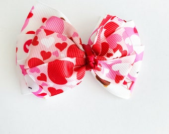 pink and red owls with heart medaley - Medium hair/dog bow