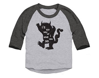 Where The Wild Things Are Eat You Up Toddler 3/4 Sleeve Baseball Raglan T-Shirt
