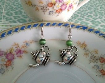 POT of GREEN TEA  Silver Tea Pot Dangle Earrings Tea Lovers,Tea Pots,Gifts for Her,Tea Parties,Valentines Day,Mothers Day,Stocking Stuffers