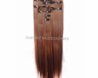 "Light Brown Hair Extensions Brown Clip In 26"" Long Straight Wavy Curly Hair Weave Thick Real Remy Wigs Dark #B12"