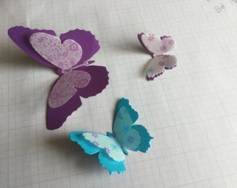 Die Cut - Butterflies - Cardstock Paper - One set of 12 with many colors.