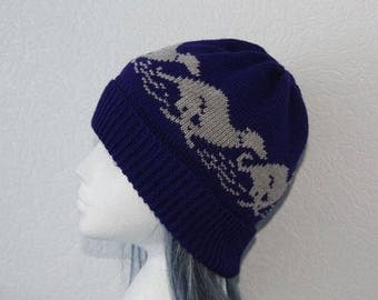 Navy Blue Beanie Hat with Grey racing Whippet or Greyhound dogs - with or without Pompom option
