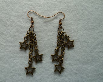 Hanging earring copper with stars