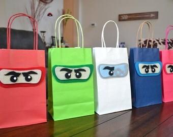 NINJAGO FAVOR BAGS - Set of 12 Lego Ninjago Inspired Favor bags, Ninjago Party bags, Lego Ninjago Birthday, Ninja Go Party, Ninjago Gift Bag