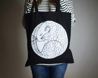 Screen printed Dormouse tote bag