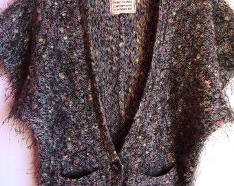 Vintage Womens Vest/ Colorful Furry Vest/ Warm Vest/Button Up/ Pockets/ Short Sleeve/Autumn Winter Sweater/V Neck /  Size  M