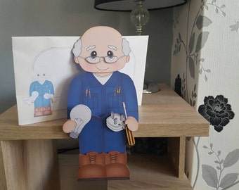 Electrician card, birthday card, husband, dad, brother, son, grandad, friend, 3d on the shelf card and envelope