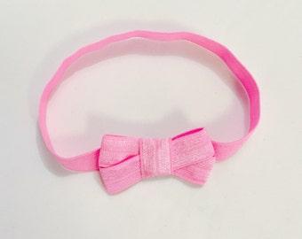 Rose Pink Elastic Headband Bow