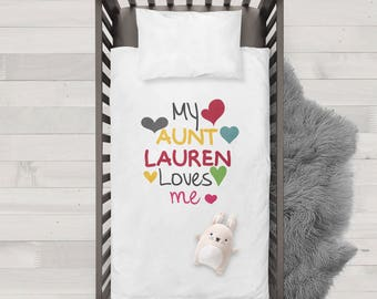 My aunt Lauren(any name) loves me Funny Humor Hip Baby Duvet/Pillow,Toddler Duvet,Oeko-Tex,Personalized duvet and pillow,Oraganic,cute baby