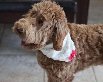 Valentines Dog Bandana, Knitted Dog Bandana