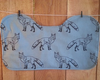 Contoured Burp Cloth, Blue Wolves, Baby Burp Cloth, Flannel, Burp Cloth Set, Baby Shower Gift, Gender Neutral, Burp Rags