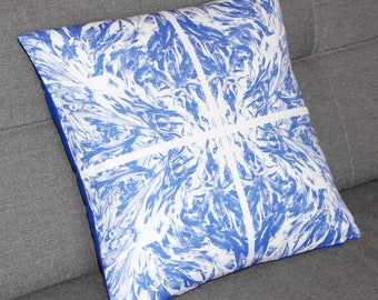 tile style blue cushion cover, decorative throw pillow, square, seaside, seaweed pattern, original design by EliseCeramics