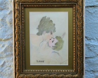 Original 1923 Painting Woman and Cupid