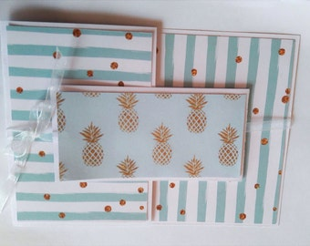 Three pineapple card: blue and gold.