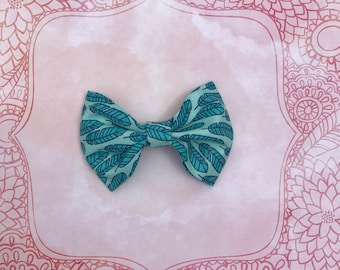 Turquoise Feathered Bow