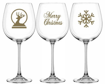 Christmas occasion stickers wine pint glass vinyl decals 12 pack