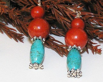Southwestern Earrings, Turquoise, Red Jasper, Silver