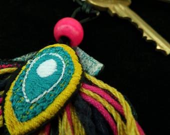 Multi-coloured fan Keyring