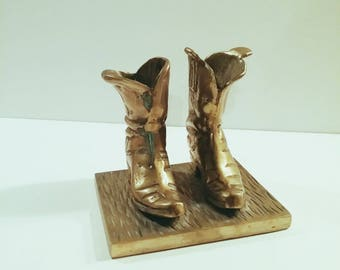 Vintage Solid Brass Cowboy Boots Paperweight Bookend Sculpture