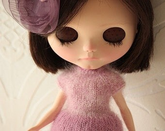 FREE SHIPPING Set for Blythe doll - Mohair dress and tutu skirt